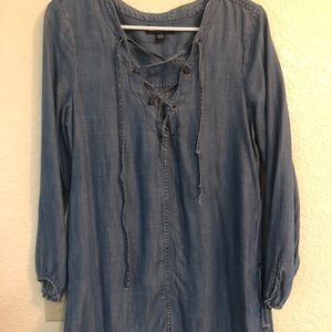 Denim long sleeve dress